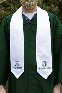 White Satin Stole with Evergreen-Evergreen