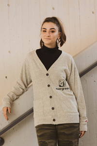 Cardigan Sweater With 2018 Tree Logo